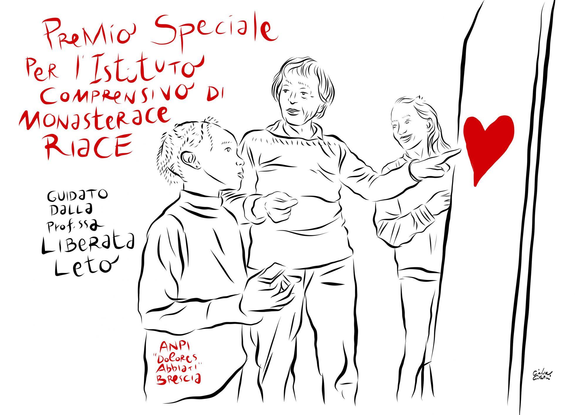 La bellissima vignetta che ha donato alla Commissione scuola ANPI per l'iniziativa.